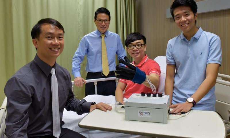 The team compromising (from left) Asst Prof Yeow, Hong Kai with the glove, Dr. Lim and Benjamin